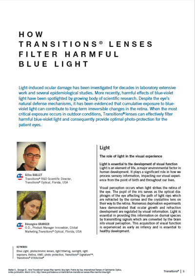 How Transitions lenses filter harmful blue light